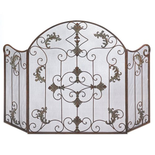Buy Bargain Gifts & Decor Rustic Scrollwork Iron Florentine Fireplace Screen