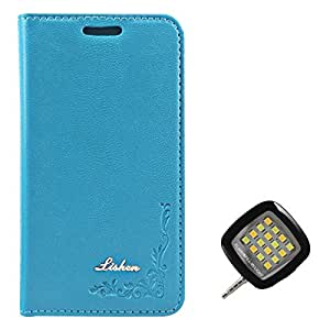 DMG Lishen Fine Leather Magnetic Wallet Folio Stand Case for SAMSUNG GALAXY CORE i826 (Light Blue) + 3.5mm Continuous LED Spotlight Flash