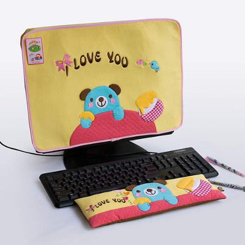 [Blue Bear-Yellow] Embroidered Applique Fabric Art 17 inch Monitor Screen Cover & Wrist Rest Pad