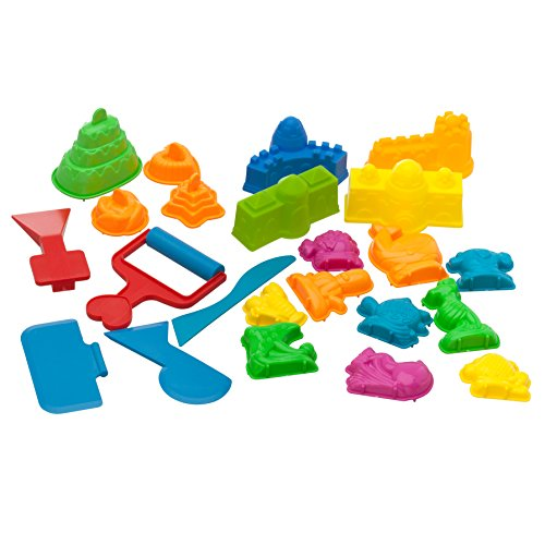 Sand Molds Kit (23 pcs) - Use with Kinetic Sand, Sands Alive, Brookstone Sand, Waba Sand, Moon Sand and All Other Molding Play Sand Brands - (Sand not included) (Sands Alive Starter compare prices)