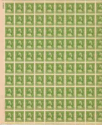 George Washington Sheet of 100 x 1 Cent US Postage Stamps NEW Scot 705
