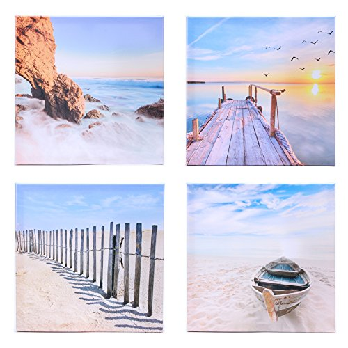 Homemory Modern Seascape Theme Oil Painting on Canvas, Sunset, Bird, Trestle, Beach, Boat, Fence, Nature Nautical for Home Office Decor, 12 inch Sea Beach Wall Art, set of 4 (30x30x4) (Nautical Paintings compare prices)