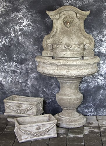 Palermo Wall Fountain with Italian Rectangular Planters Package #1050 (Italian Wall Fountain compare prices)