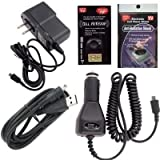 Casio Hitachi G'zOne Commando Charging Kit: Car Charger, House Charger and USB Charger with Free Antenna Booster and Anti Radiation Shield.