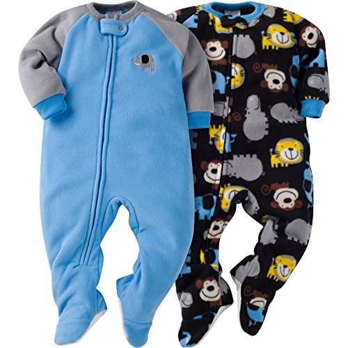 Gerber Boys' Baby and 2 Pack Blanket Sleepers, Elephant, 6-9 Months