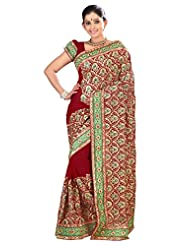 Designer Admirable Maroon Colored Embroidered Faux Georgette Saree By Triveni - B00QTJQF6Y