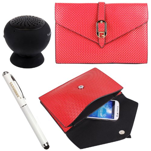 Pu Leather Diamond Pouch Bag Case For Nokia Lumia 1020 / Lumia Icon / Nokia Xl / Nokia X+ / Nokia X + Stylus Pen + Black Bluetooth Speaker (Pink)