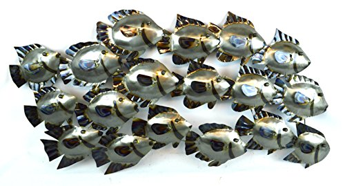 HUGE BEAUTIFUL UNIQUE silver NAUTICAL SCHOOL OF FISH METAL WALL ART (Metal Fish Decor compare prices)