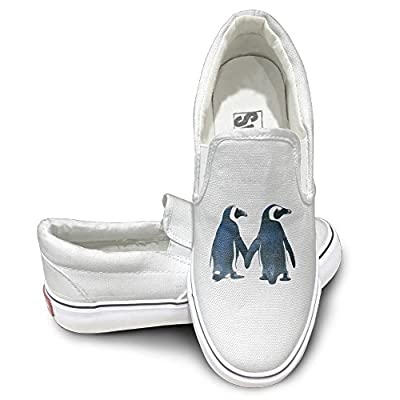 PTCY Lovely Penguin Couples Comfort Unisex Flat Canvas Shoes Sneaker White