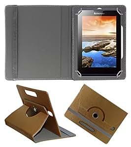Acm Designer Rotating 360° Leather Flip Case For Lenovo A7-30 2g A3300-Gv Tablet Stand Premium Cover Golden
