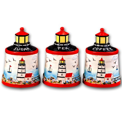 Lighthouse Ceramic Storage Canister Jar