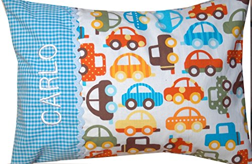 Babykissen Autos, Kinderkissen, Kissen zur Geburt mit Namen