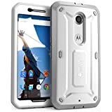 Supcase Unicorn Beetle PRO Series Full-body Rugged Hybrid Protective Belt Clip Holster Case with Built-in Screen Protector for Google Nexus 6 - White/Gray
