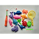Generic 14pcs Set Magnetic Fishing Toy Game Kids 1 Rod 1 Net 12 3D Fish Bath Toys Outdoor Fun