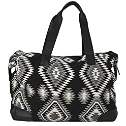 Raj Black and White Southwest Print Duffle Bag Weekender with Leather