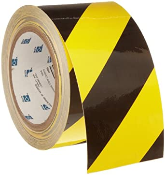 """Brady 60' Length, 3"""" Width, B-950 Vinyl, Black And Yellow Color Striped Aisle Marking Tape, Legend (Black And Yellow Diagonal Stripes)"""
