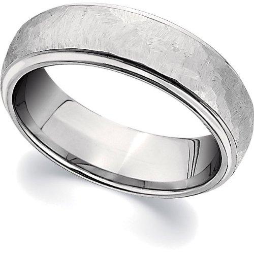 Cobalt Chrome, Polished Edge Hammered Domed Wedding Band (sz 11)