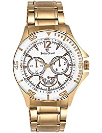 Swiss Grand SG1181 Solid Gold Coloured With Golden Stainless Steel Strap Quartz Watch For Men