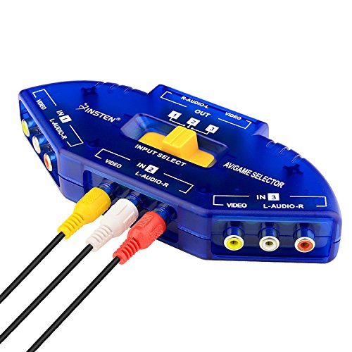 Insten AV Audio Video RCA 3 Way Switch Splitter Plus Cable