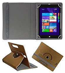 Acm Designer Rotating 360° Leather Flip Case For Notion Ink Cain 10 Tablet Stand Premium Cover Golden