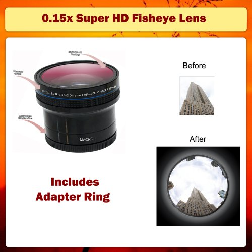 0.15x Super HD Fisheye Lens for EF 500mm, 800mm, 60mm, 50mm, 100mm, 18-135mm, 135mm & 35mm Canon Lens