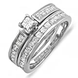 1.50 Carat (ctw) 14k White Gold Princess Diamond Ladies Bridal Ring Engagement Set with Matching Wedding Band