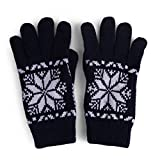 Ladies Winter Snowflake Warm Polar Fleece Lined Thick Knit Ski Gloves Navy L/XL