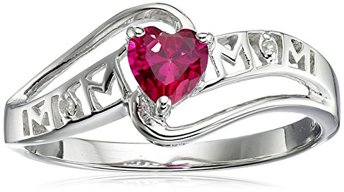 Created Ruby and Diamond Accent Mom Heart Ring in Sterling