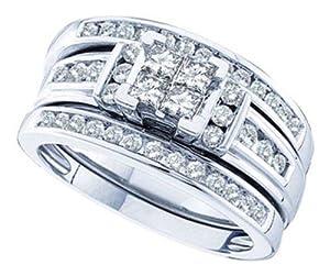 Pricegems 14K White Gold Ladies and Mens Princess Diamond Trio Set (1 cttw, H-I Color, I1/I2 Clarity, Ring Size: 7)