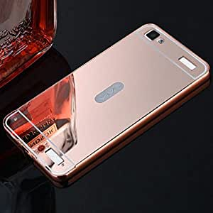 Aart Luxury Metal Bumper + Acrylic Mirror Back Cover Case For VivoY37 RoseGold+ Flexible Portable Mount Cradle Thumb OK Designed Stand Holder