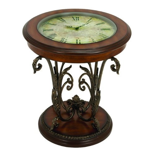 Buy Low Price 17 Scrolling Wrought Iron Glass Top Coffee Table With Vintage Style Clock