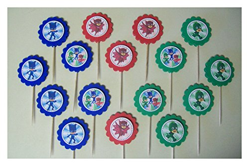 [16 MINI PJ MASKS Cupcake Toppers Sandwich Spears party favors Best Selling Prod] (P Party Costume Suggestions)