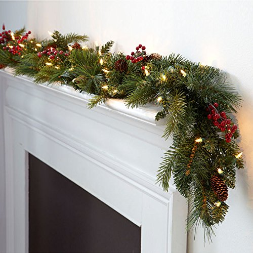 Corded LED Pre-lit Cone & Berry 6 Christmas Garland