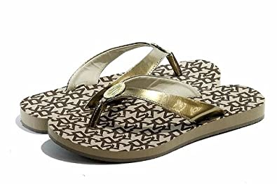 Donna Karan DKNY Women's Fashion Sandals Token Shoes (9, Chino-Gold)