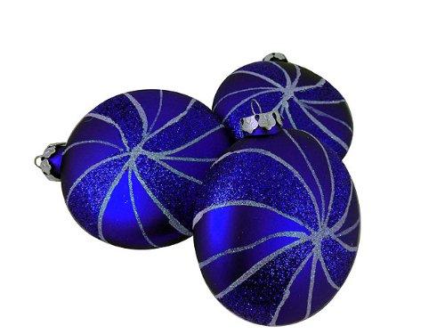 Blue Glitter Swirl Christmas Ornaments