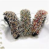 Elegant Korean Full Paved Crystal Hair Clips Barrettes Flower Pattern Large Crystal Fashion Barrette Random Color, Mixed Color