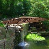 Grand 9 ft Cantilever Solar Powered Outdoor Patio Umbrella Cocoa 2 Year Fade Warranty