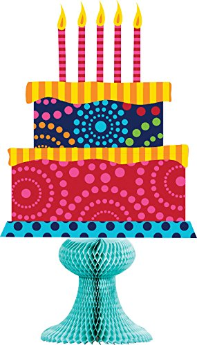 Creative Converting Birthday Cake Stand Centerpiece with Honeycomb Stand, Multicolor - 1