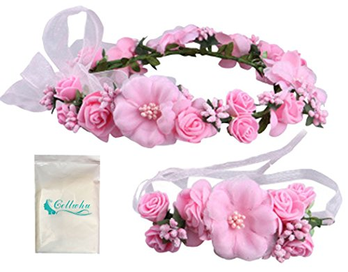Gellwhu Flower Crown Wedding Hair Wreath Floral Headband Garland Wrist Band Set (Pink)