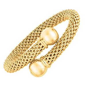 Sterling Silver Color 8mm Gold Plated Polished Bubble Textured Bracelet - 7.5 Inch - JewelryWeb