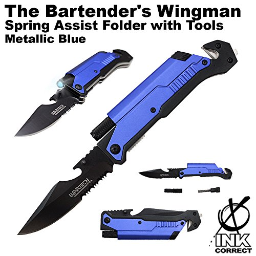 The Bartender'S Wingman Spring Assist Folder With Tools - Metallic Blue