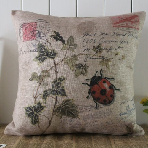 Decho Seven-Spotted Ladybug Ladybird Insects Coccinella Septempunctata Green Leaf Linen Cushion Cover Pillow Case front-235154