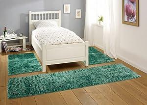flokati bettumrandung galloway 3teilig teppich verschiedene farben farbe t rkis gr n blau. Black Bedroom Furniture Sets. Home Design Ideas