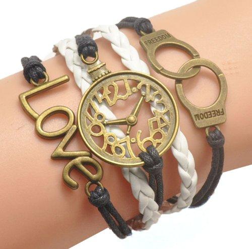 Humasol Womens Fashion Knit Charm Retro Suede Wrap Bracelet Gift