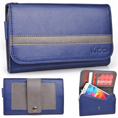 Exxist® Graphite Series. Faux Leather Clutch / Wallet For Archos 43 Internet (Color: Navy Blue / Grey Stripe) -Esmlgpbd