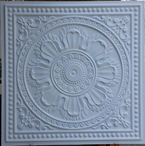 PL17en étain plafond 3D Panneaux muraux décoration carrelage Blanc mat fond en relief photosgraphie 10pieces/Lot