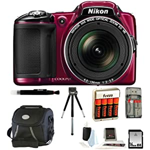 Nikon COOLPIX L830 Digital Camera (Red) + 16GB Memory Card + All in One High Speed Card Reader + Small Gadget Camera Bag + Accessory Kit