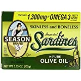Season's Skinless and Boneless Sardines in Pure Olive Oil. Imported From Morocco (Pack of 12)