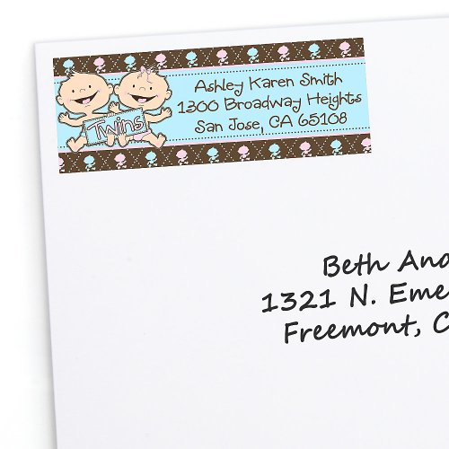 Twin Modern Babies 1 Boy & 1 Girl Caucasian - 30 Personalized Baby Shower Return Address Labels front-791387