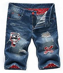 Men\'s Ripped Washed Printed Slim Straight Leg Denim Shorts A- Blue 32